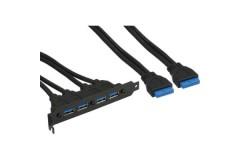 USB Adapter PC-Slotblech 4x USB-A-Kupplung <-> 2x 19pol Pfostenverbinder Mainboard, 50cm