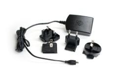 Steckernetzteil [Farbe: schwarz] ErP  5V 2.5A Micro-USB für alle Raspberry Pi Modelle bis incl. Pi 3 B+ und Banana Pi / Pro, inkl. 4 Adapter (EU, GB, US, AU)