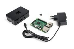 Raspberry Pi 3 Starter Kit (Pi 3 Model B aus EU Fertigung, 8GB microSDHC, Digitalrise 3000mA Netzteil, schwarzes OneNineDesign Gehäuse)