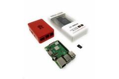 Raspberry Pi 3 Model B+ Barebone Starter Kit (Pi 3 Model B+ aus EU Fertigung, 16GB microSDHC, Digitalrise 3000mA Netzteil, rotes OneNineDesign Gehäuse)